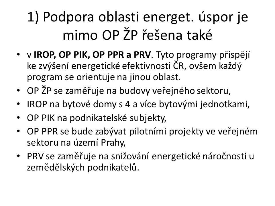 1) Podpora oblasti energet. úspor je mimo OP ŽP řešena také v IROP, OP PIK, OP PPR a PRV.