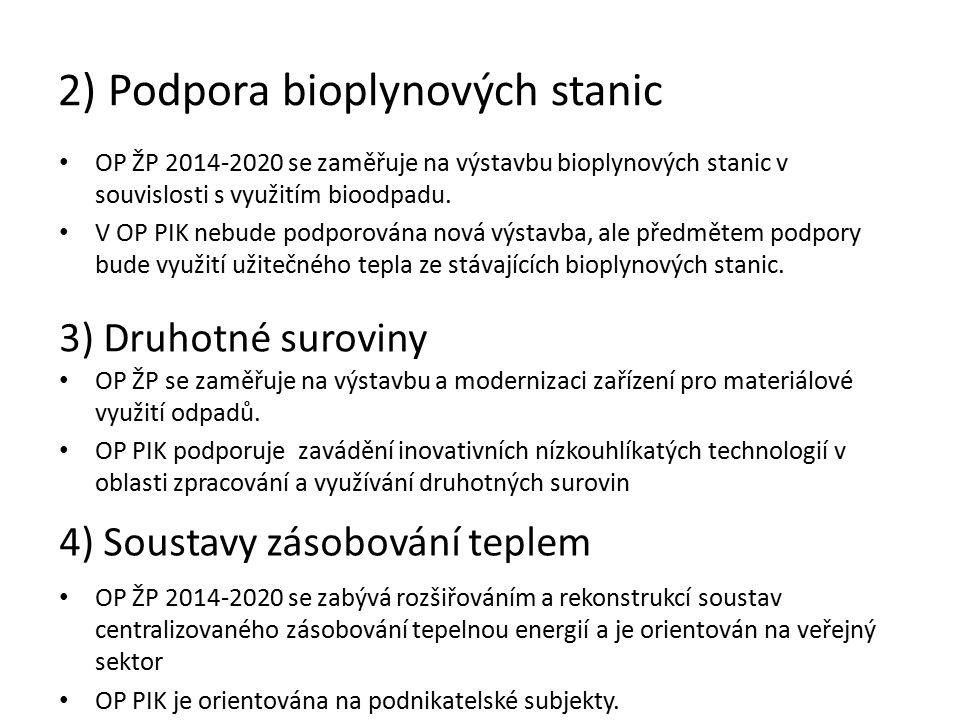 2) Podpora bioplynových stanic OP ŽP 2014-2020 se zaměřuje na výstavbu bioplynových stanic v souvislosti s využitím bioodpadu.