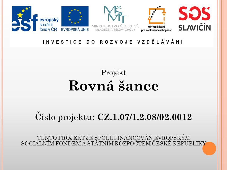 Projekt Rovná šance Číslo projektu: CZ.1.07/1.2.08/02.0012 TENTO PROJEKT JE SPOLUFINANCOVÁN EVROPSKÝM SOCIÁLNÍM FONDEM A STÁTNÍM ROZPOČTEM ČESKÉ REPUBLIKY