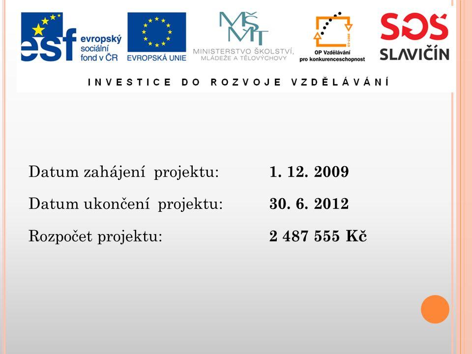 Datum zahájení projektu: 1. 12. 2009 Datum ukončení projektu: 30.