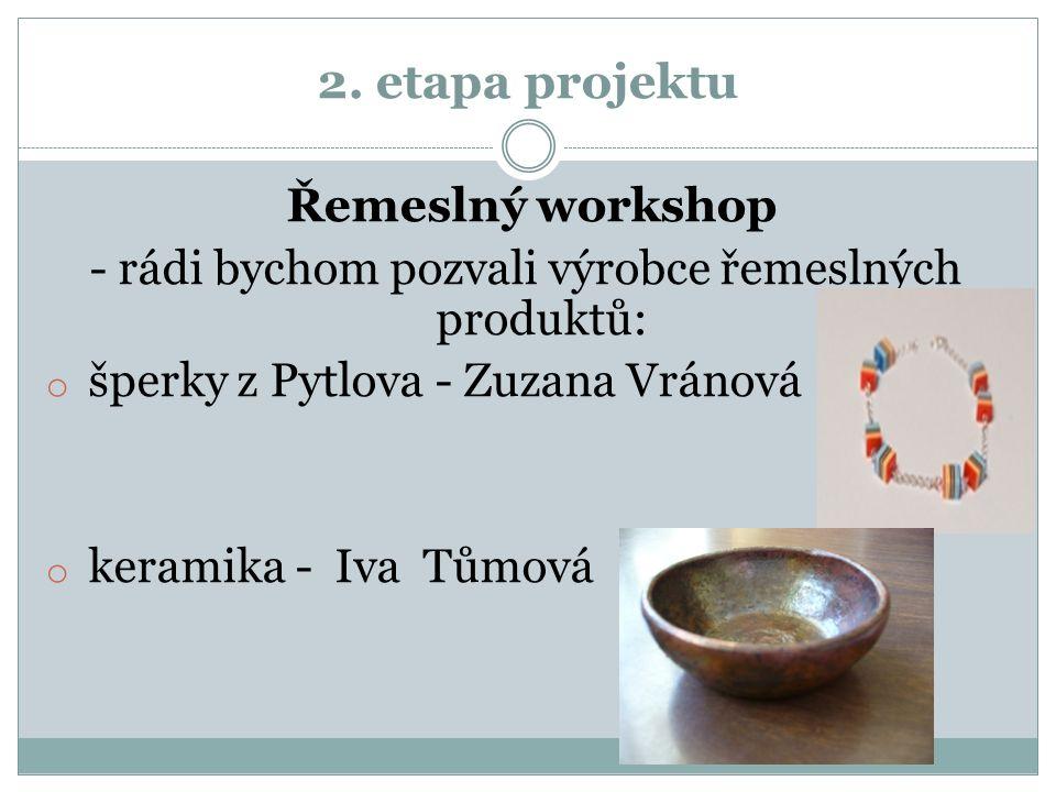 2. etapa projektu Řemeslný workshop - rádi bychom pozvali výrobce řemeslných produktů: o šperky z Pytlova - Zuzana Vránová o keramika - Iva Tůmová