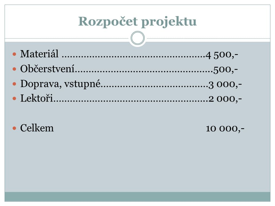 Rozpočet projektu Materiál …………………………………………….4 500,- Občerstvení…………………………………………..500,- Doprava, vstupné…………………………………3 000,- Lektoři………………………………………………..2 000,- Celkem 10 000,-
