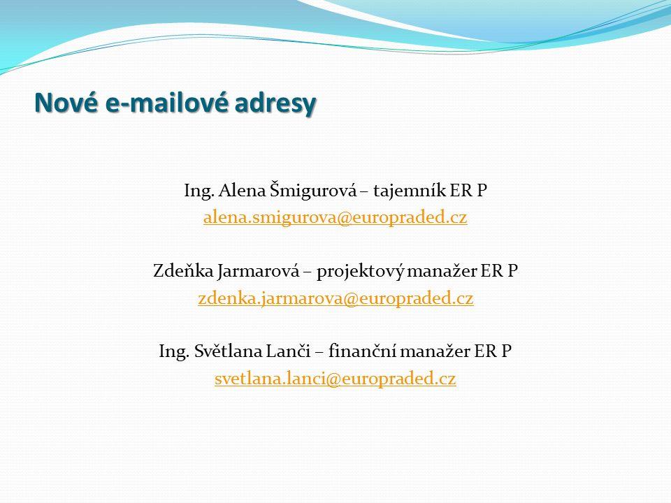 Nové e-mailové adresy Ing. Alena Šmigurová – tajemník ER P alena.smigurova@europraded.cz Zdeňka Jarmarová – projektový manažer ER P zdenka.jarmarova@e