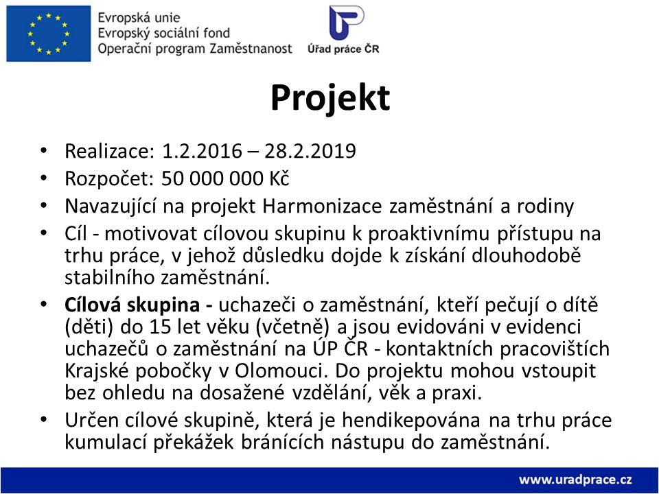 Projekt Realizace: 1.2.2016 – 28.2.2019 Rozpočet: 50 000 000 Kč Navazující na projekt Harmonizace zaměstnání a rodiny Cíl - motivovat cílovou skupinu