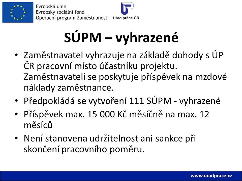 SÚPM – vyhrazené Zaměstnavatel vyhrazuje na základě dohody s ÚP ČR pracovní místo účastníku projektu. Zaměstnavateli se poskytuje příspěvek na mzdové