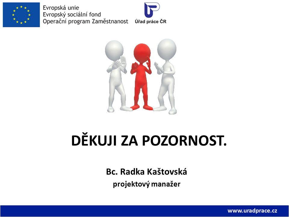 DĚKUJI ZA POZORNOST. Bc. Radka Kaštovská projektový manažer