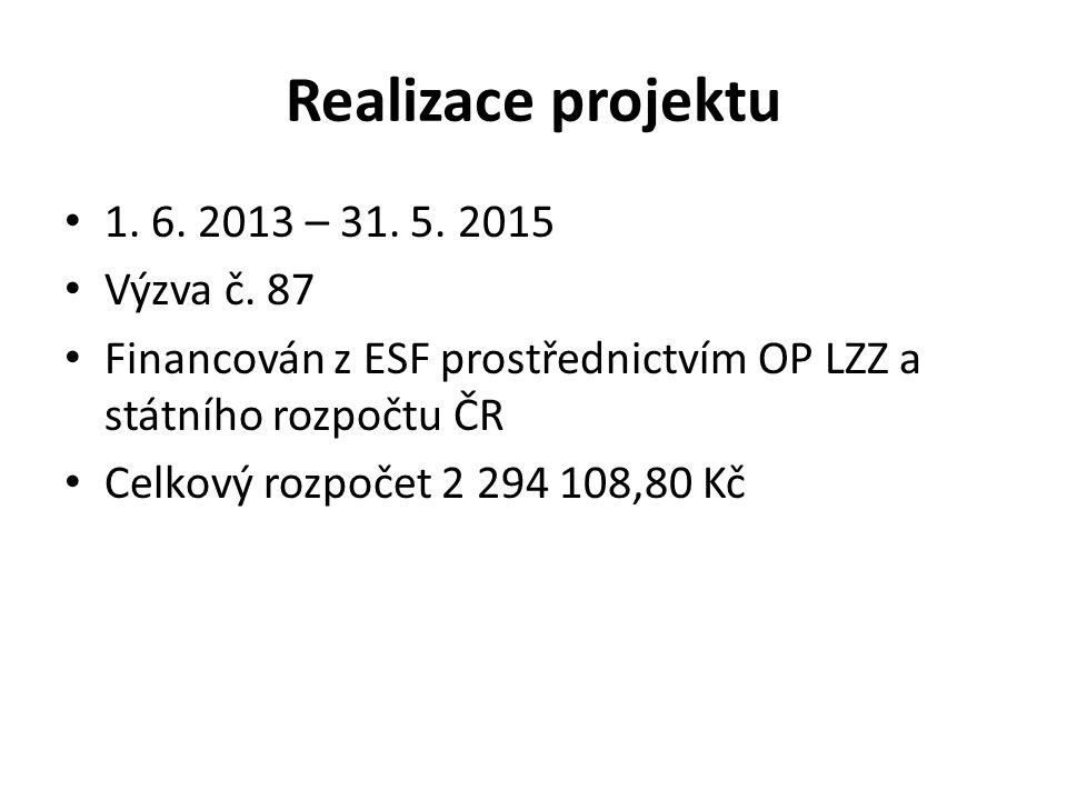 Realizace projektu 1. 6. 2013 – 31. 5. 2015 Výzva č.