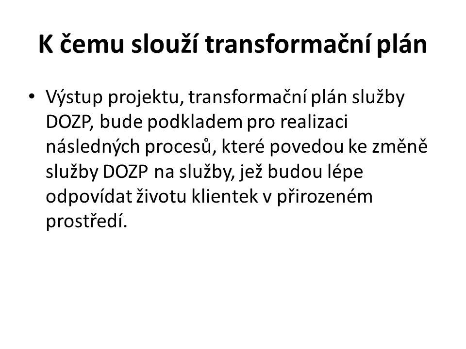 K čemu slouží transformační plán Výstup projektu, transformační plán služby DOZP, bude podkladem pro realizaci následných procesů, které povedou ke změně služby DOZP na služby, jež budou lépe odpovídat životu klientek v přirozeném prostředí.