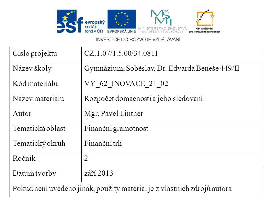 Číslo projektuCZ.1.07/1.5.00/34.0811 Název školyGymnázium, Soběslav, Dr. Edvarda Beneše 449/II Kód materiáluVY_62_INOVACE_21_02 Název materiáluRozpoče