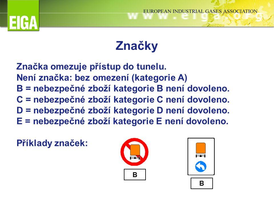 Značky Značka omezuje přístup do tunelu.