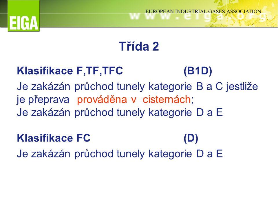 Třída 2 Klasifikace F,TF,TFC (B1D) Je zakázán průchod tunely kategorie B a C jestliže je přeprava prováděna v cisternách; Je zakázán průchod tunely kategorie D a E Klasifikace FC(D) Je zakázán průchod tunely kategorie D a E