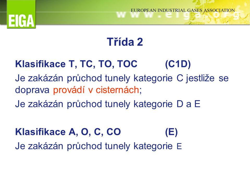 Třída 2 Klasifikace T, TC, TO, TOC(C1D) Je zakázán průchod tunely kategorie C jestliže se doprava provádí v cisternách; Je zakázán průchod tunely kategorie D a E Klasifikace A, O, C, CO(E) Je zakázán průchod tunely kategorie E