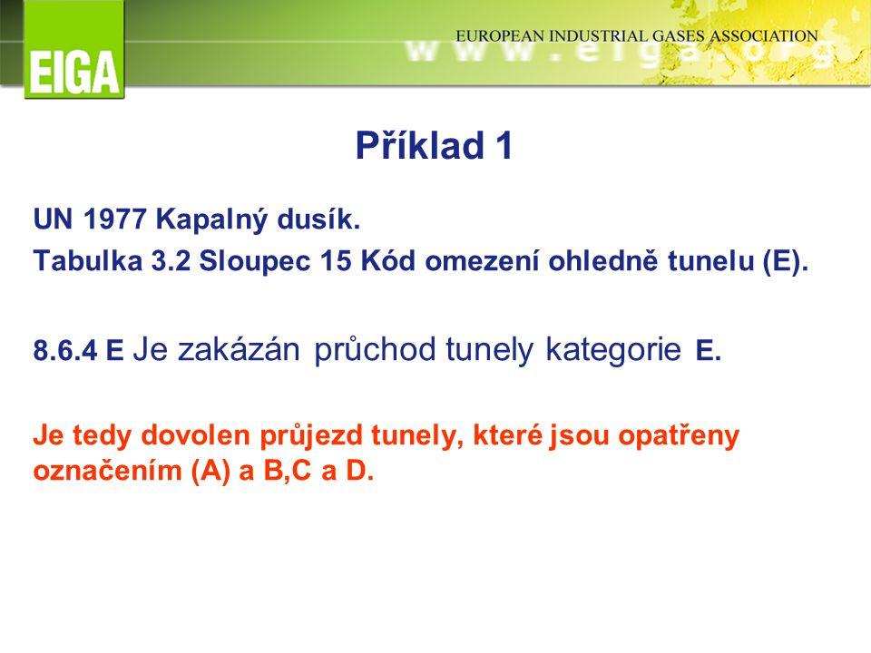 Příklad 1 UN 1977 Kapalný dusík. Tabulka 3.2 Sloupec 15 Kód omezení ohledně tunelu (E).