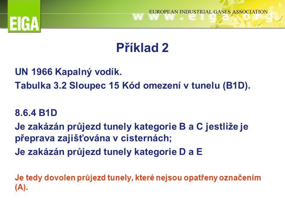 Příklad 2 UN 1966 Kapalný vodík. Tabulka 3.2 Sloupec 15 Kód omezení v tunelu (B1D).