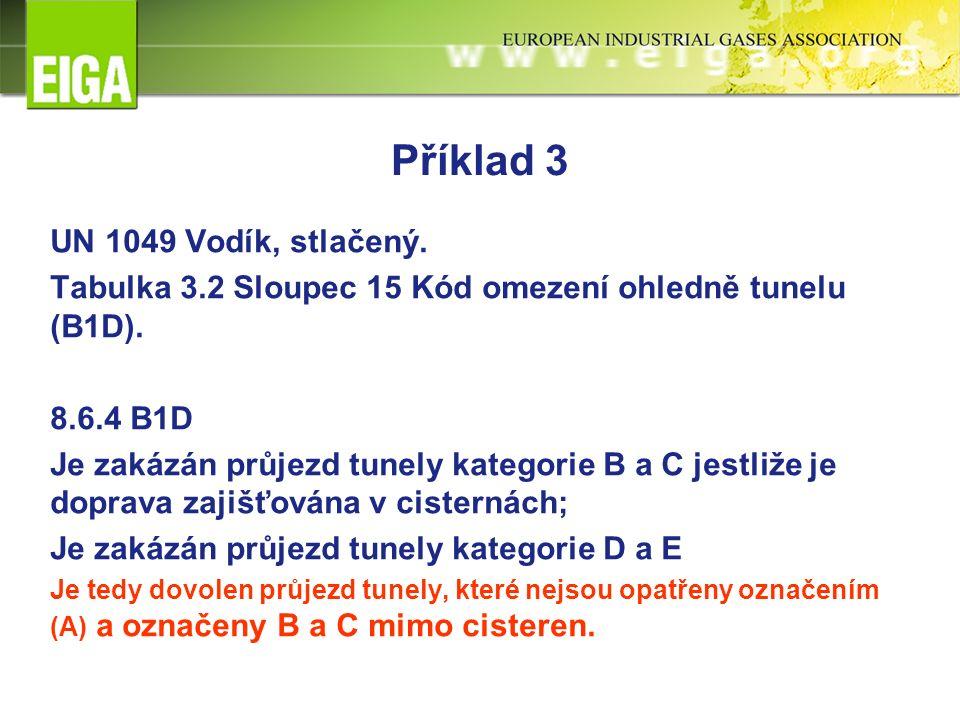 Příklad 3 UN 1049 Vodík, stlačený. Tabulka 3.2 Sloupec 15 Kód omezení ohledně tunelu (B1D).