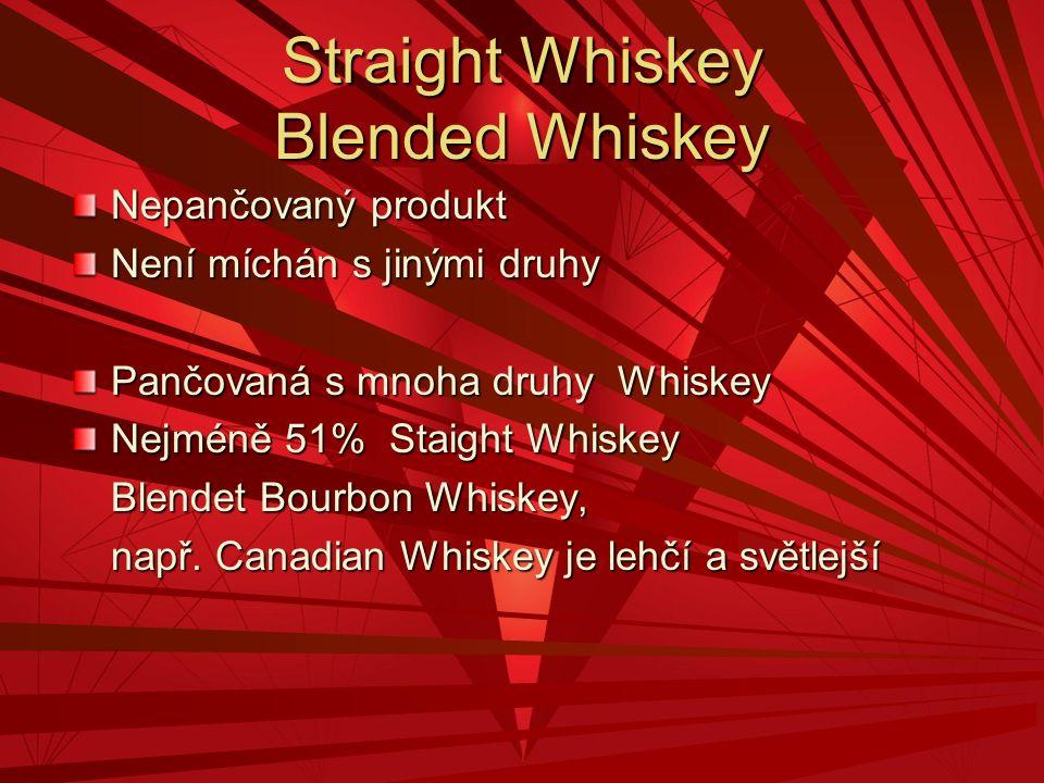 Straight Whiskey Blended Whiskey Nepančovaný produkt Není míchán s jinými druhy Pančovaná s mnoha druhy Whiskey Nejméně 51% Staight Whiskey Blendet Bo