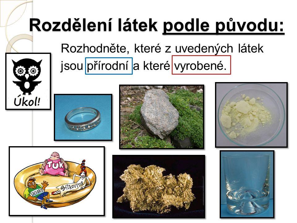 Rozdělení látek podle původu: Rozhodněte, které z uvedených látek jsou přírodní a které vyrobené.