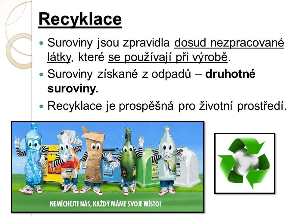 Recyklace Suroviny jsou zpravidla dosud nezpracované látky, které se používají při výrobě.