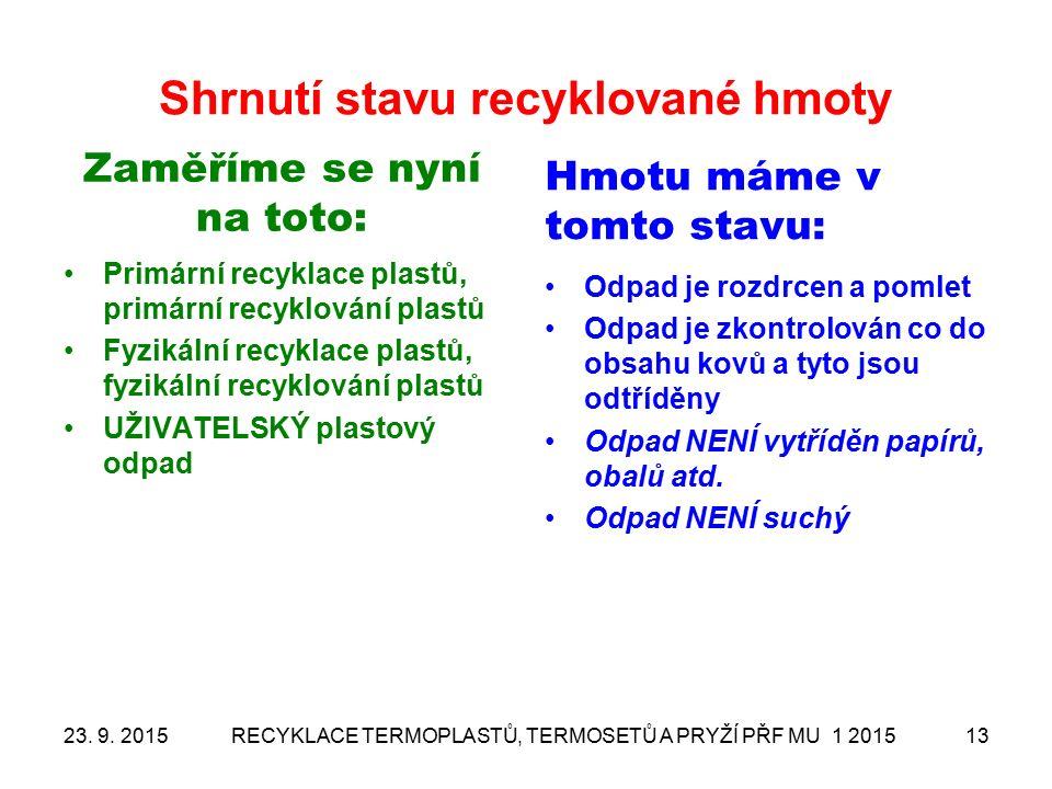Shrnutí stavu recyklované hmoty Zaměříme se nyní na toto: Primární recyklace plastů, primární recyklování plastů Fyzikální recyklace plastů, fyzikální recyklování plastů UŽIVATELSKÝ plastový odpad Hmotu máme v tomto stavu: Odpad je rozdrcen a pomlet Odpad je zkontrolován co do obsahu kovů a tyto jsou odtříděny Odpad NENÍ vytříděn papírů, obalů atd.