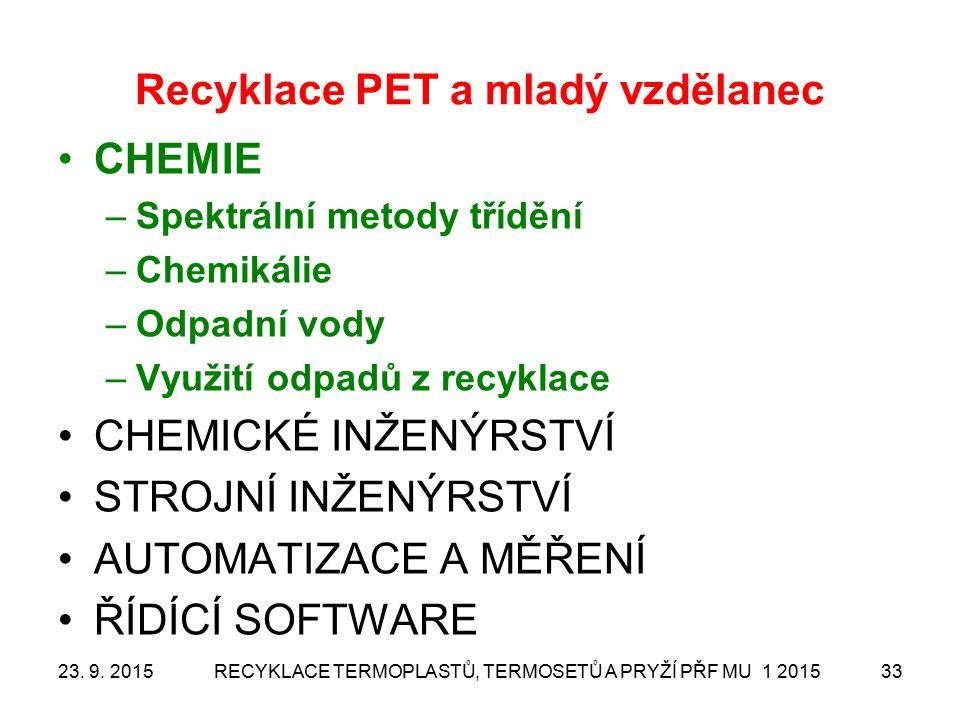 Recyklace PET a mladý vzdělanec CHEMIE –Spektrální metody třídění –Chemikálie –Odpadní vody –Využití odpadů z recyklace CHEMICKÉ INŽENÝRSTVÍ STROJNÍ INŽENÝRSTVÍ AUTOMATIZACE A MĚŘENÍ ŘÍDÍCÍ SOFTWARE 23.