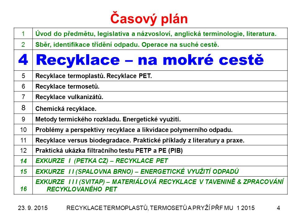 RECYKLACE TERMOPLASTŮ, TERMOSETŮ A PRYŽÍ PŘF MU 1 20154 Časový plán 1Úvod do předmětu, legislativa a názvosloví, anglická terminologie, literatura. 2S