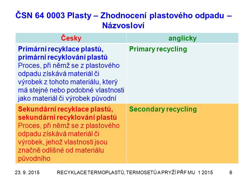 ČSN 64 0003 Plasty – Zhodnocení plastového odpadu – Názvosloví Českyanglicky Primární recyklace plastů, primární recyklování plastů Proces, při němž se z plastového odpadu získává materiál či výrobek z tohoto materiálu, který má stejné nebo podobné vlastnosti jako materiál či výrobek původní Primary recycling Sekundární recyklace plastů, sekundární recyklování plastů Proces, při němž se z plastového odpadu získává materiál či výrobek, jehož vlastnosti jsou značně odlišné od materiálu původního Secondary recycling RECYKLACE TERMOPLASTŮ, TERMOSETŮ A PRYŽÍ PŘF MU 1 2015623.