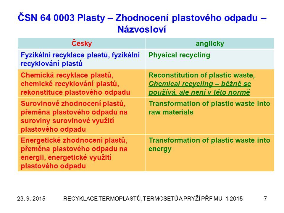 ČSN 64 0003 Plasty – Zhodnocení plastového odpadu – Názvosloví Českyanglicky Fyzikální recyklace plastů, fyzikální recyklování plastů Physical recycling Chemická recyklace plastů, chemické recyklování plastů, rekonstituce plastového odpadu Reconstitution of plastic waste, Chemical recycling – běžně se používá, ale není v této normě Surovinové zhodnocení plastů, přeměna plastového odpadu na suroviny surovinové využití plastového odpadu Transformation of plastic waste into raw materials Energetické zhodnocení plastů, přeměna plastového odpadu na energii, energetické využití plastového odpadu Transformation of plastic waste into energy RECYKLACE TERMOPLASTŮ, TERMOSETŮ A PRYŽÍ PŘF MU 1 2015723.