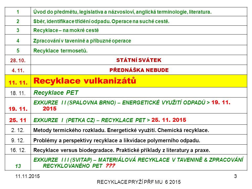 11.11.2015RECYKLACE PRYŽÍ PŘF MU 6 2015 44 Recycling and devulcanization I The market for new raw rubber or equivalent remains enormous, with North America alone using 4.5 million tons every year.