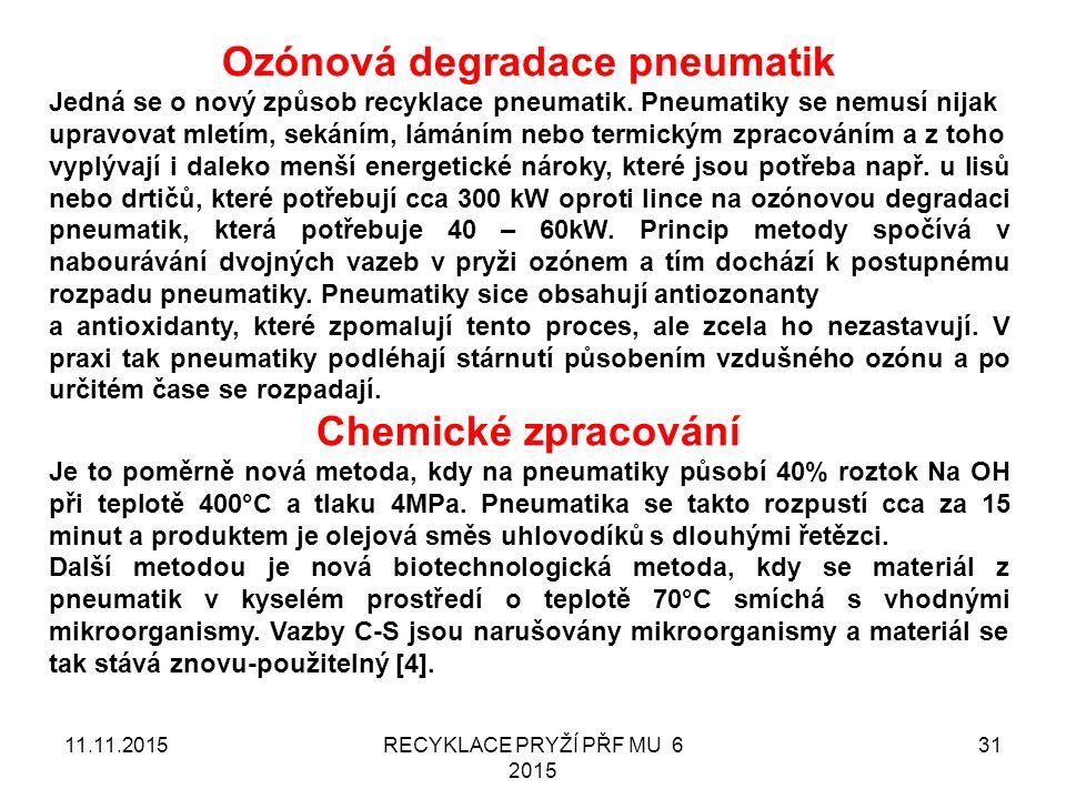 11.11.2015RECYKLACE PRYŽÍ PŘF MU 6 2015 31 Ozónová degradace pneumatik Jedná se o nový způsob recyklace pneumatik.