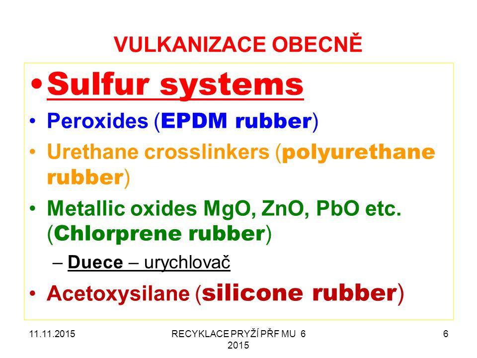 VULKANIZACE OBECNĚ Sulfur systems Peroxides ( EPDM rubber ) Urethane crosslinkers ( polyurethane rubber ) Metallic oxides MgO, ZnO, PbO etc. ( Chlorpr