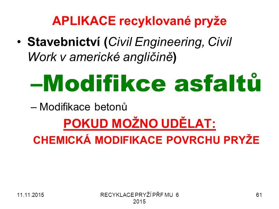 APLIKACE recyklované pryže RECYKLACE PRYŽÍ PŘF MU 6 2015 6111.11.2015 Stavebnictví (Civil Engineering, Civil Work v americké angličině) –Modifikce asfaltů –Modifikace betonů POKUD MOŽNO UDĚLAT: CHEMICKÁ MODIFIKACE POVRCHU PRYŽE