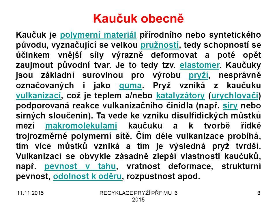 11.11.2015RECYKLACE PRYŽÍ PŘF MU 6 2015 29 PostupRozšíření Fyzikální (materiálová) recyklace Minoritní záležitost PROČ.