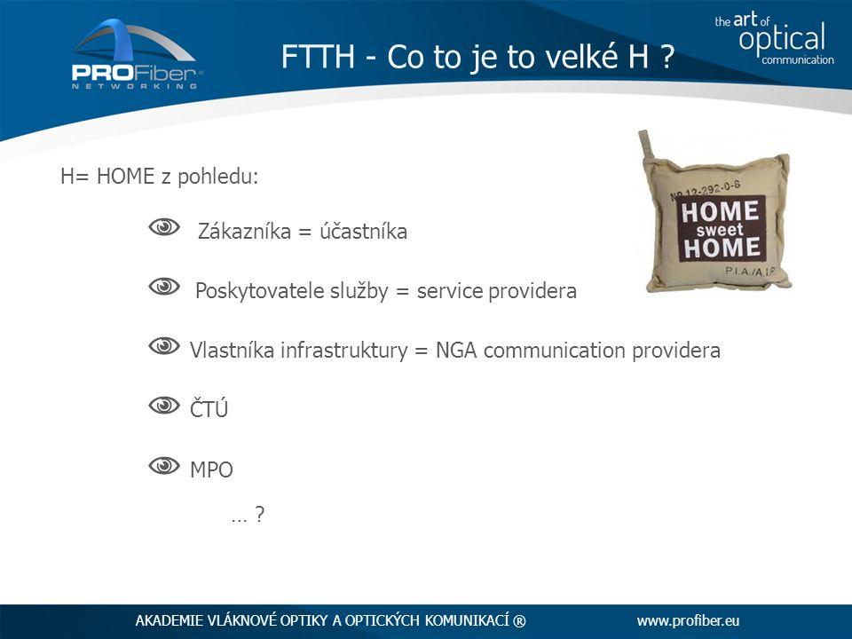 H= HOME z pohledu:  Zákazníka = účastníka  Poskytovatele služby = service providera  Vlastníka infrastruktury = NGA communication providera  ČTÚ  MPO … .