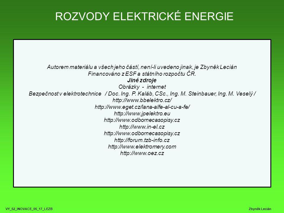 ROZVODY ELEKTRICKÉ ENERGIE VY_52_INOVACE_05_17_LEZB Zbyněk Lecián Autorem materiálu a všech jeho částí, není-li uvedeno jinak, je Zbyněk Lecián Financ