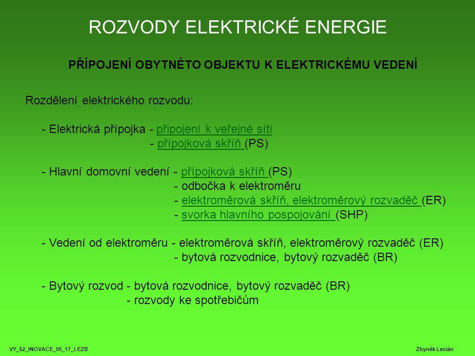 ROZVODY ELEKTRICKÉ ENERGIE VY_52_INOVACE_05_17_LEZB Zbyněk Lecián PŘÍPOJENÍ OBYTNÉTO OBJEKTU K ELEKTRICKÉMU VEDENÍ Rozdělení elektrického rozvodu: - Elektrická přípojka - připojení k veřejné síti - přípojková skříň (PS) - Hlavní domovní vedení - přípojková skříň (PS) - odbočka k elektroměru - elektroměrová skříň, elektroměrový rozvaděč (ER) - svorka hlavního pospojování (SHP) - Vedení od elektroměru - elektroměrová skříň, elektroměrový rozvaděč (ER) - bytová rozvodnice, bytový rozvaděč (BR) - Bytový rozvod - bytová rozvodnice, bytový rozvaděč (BR) - rozvody ke spotřebičůmpřipojení k veřejné sítipřípojková skříň elektroměrová skříň, elektroměrový rozvaděč svorka hlavního pospojování