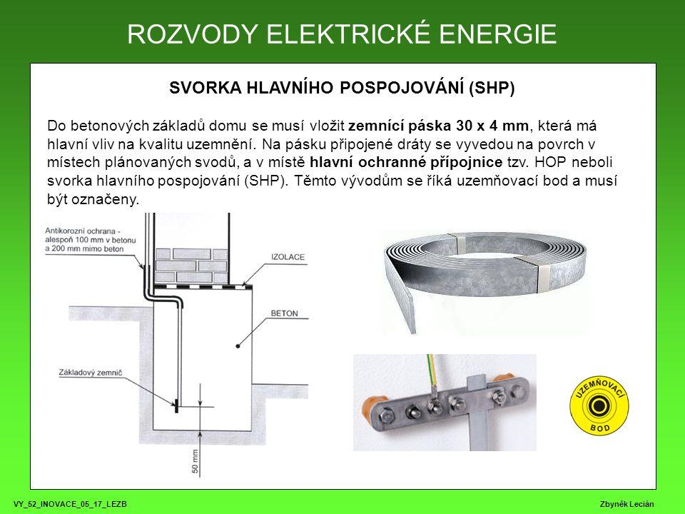 VY_52_INOVACE_05_17_LEZB Zbyněk Lecián SVORKA HLAVNÍHO POSPOJOVÁNÍ (SHP) Do betonových základů domu se musí vložit zemnící páska 30 x 4 mm, která má hlavní vliv na kvalitu uzemnění.