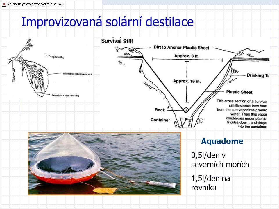 Improvizovaná solární destilace Aquadome 0,5l/den v severních mořích 1,5l/den na rovníku