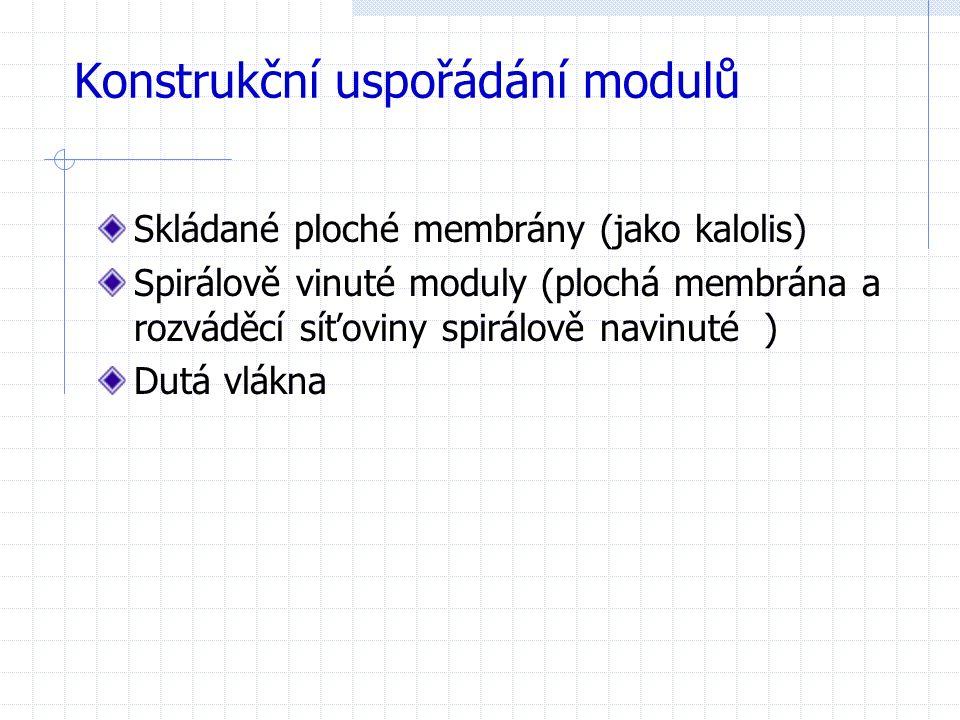 Konstrukční uspořádání modulů Skládané ploché membrány (jako kalolis) Spirálově vinuté moduly (plochá membrána a rozváděcí síťoviny spirálově navinuté ) Dutá vlákna