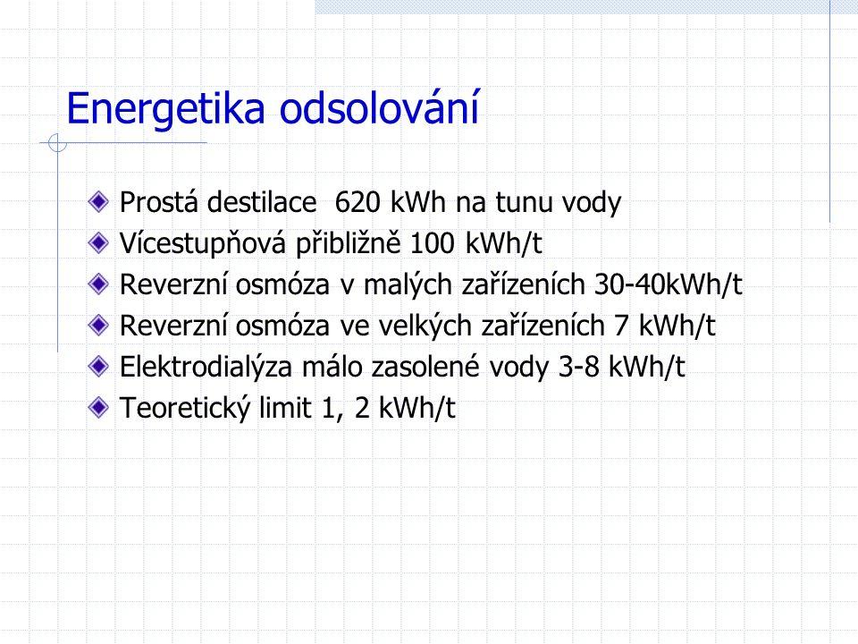 Energetika odsolování Prostá destilace 620 kWh na tunu vody Vícestupňová přibližně 100 kWh/t Reverzní osmóza v malých zařízeních 30-40kWh/t Reverzní osmóza ve velkých zařízeních 7 kWh/t Elektrodialýza málo zasolené vody 3-8 kWh/t Teoretický limit 1, 2 kWh/t