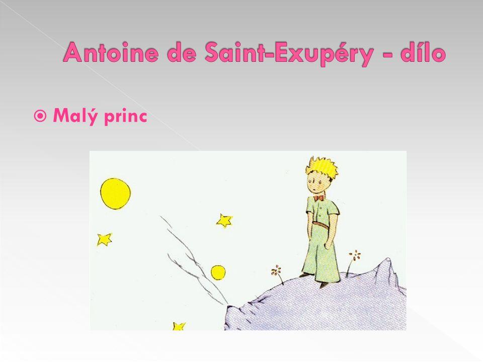 › 1943 › filozofická pohádka › příběh pilota, který havaroval na Sahaře; uprostřed pustiny se setkává s malým princem z daleké planety › kniha obsahuje autorovy kresby