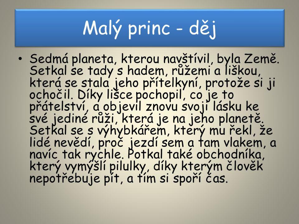 Malý princ - děj Sedmá planeta, kterou navštívil, byla Země.