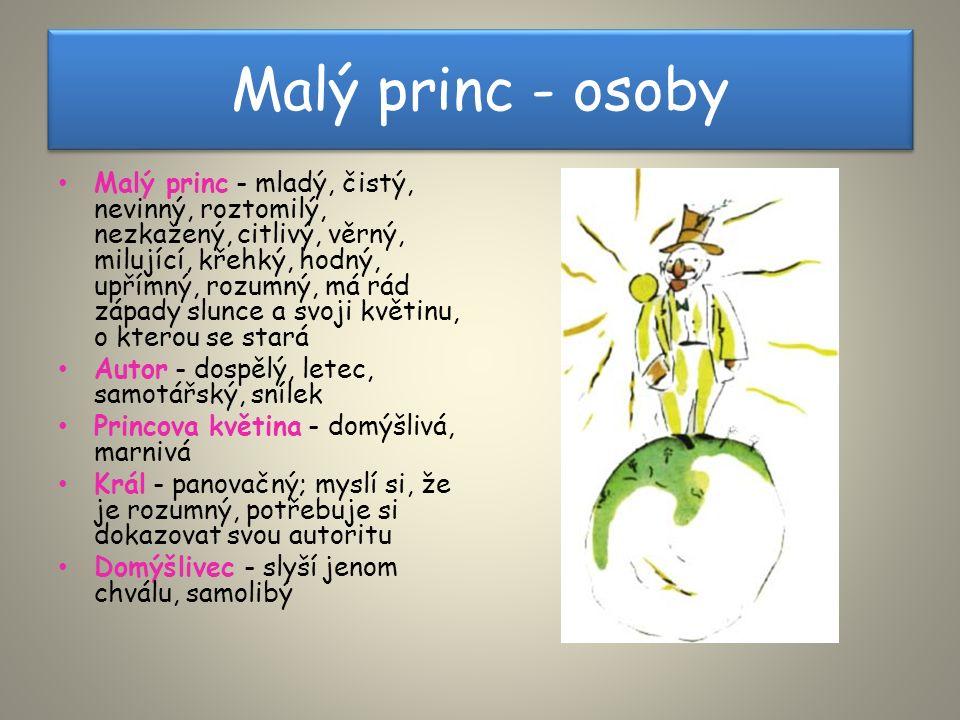 Malý princ - osoby Malý princ - mladý, čistý, nevinný, roztomilý, nezkažený, citlivý, věrný, milující, křehký, hodný, upřímný, rozumný, má rád západy slunce a svoji květinu, o kterou se stará Autor - dospělý, letec, samotářský, snílek Princova květina - domýšlivá, marnivá Král - panovačný; myslí si, že je rozumný, potřebuje si dokazovat svou autoritu Domýšlivec - slyší jenom chválu, samolibý