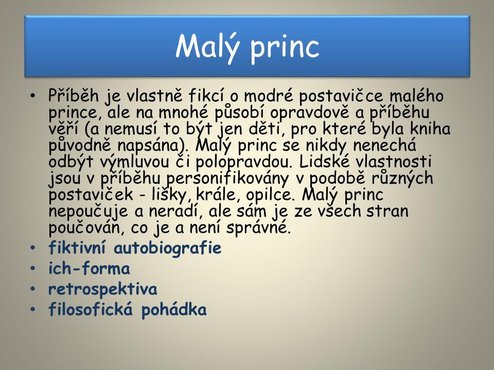 Malý princ Příběh je vlastně fikcí o modré postavičce malého prince, ale na mnohé působí opravdově a příběhu věří (a nemusí to být jen děti, pro které byla kniha původně napsána).