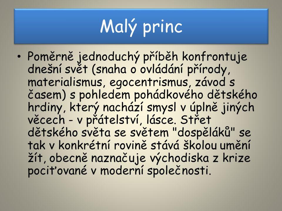 Malý princ Poměrně jednoduchý příběh konfrontuje dnešní svět (snaha o ovládání přírody, materialismus, egocentrismus, závod s časem) s pohledem pohádkového dětského hrdiny, který nachází smysl v úplně jiných věcech - v přátelství, lásce.