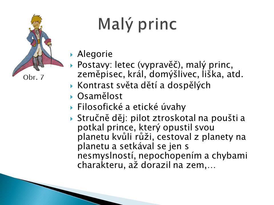  Alegorie  Postavy: letec (vypravěč), malý princ, zeměpisec, král, domýšlivec, liška, atd.