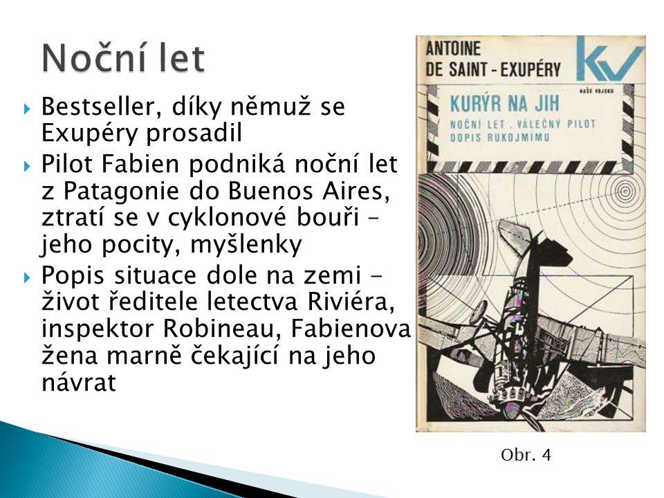  Bestseller, díky němuž se Exupéry prosadil  Pilot Fabien podniká noční let z Patagonie do Buenos Aires, ztratí se v cyklonové bouři – jeho pocity,