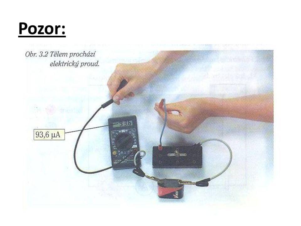 při použití baterie o napětí 4,5V je proud malý když si navlhčíme prsty, proud se zvětší při ss napětí > 24V nebo stř.