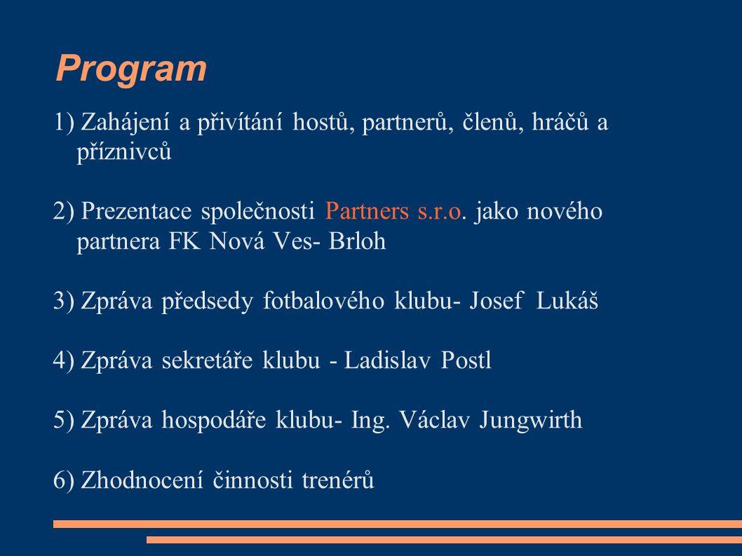 Program 1) Zahájení a přivítání hostů, partnerů, členů, hráčů a příznivců 2) Prezentace společnosti Partners s.r.o. jako nového partnera FK Nová Ves-