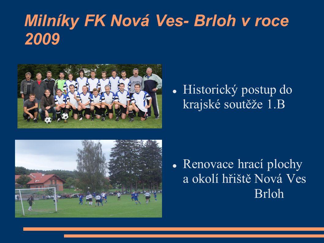 Milníky FK Nová Ves- Brloh v roce 2009 Historický postup do krajské soutěže 1.B Renovace hrací plochy a okolí hřiště Nová Ves Brloh