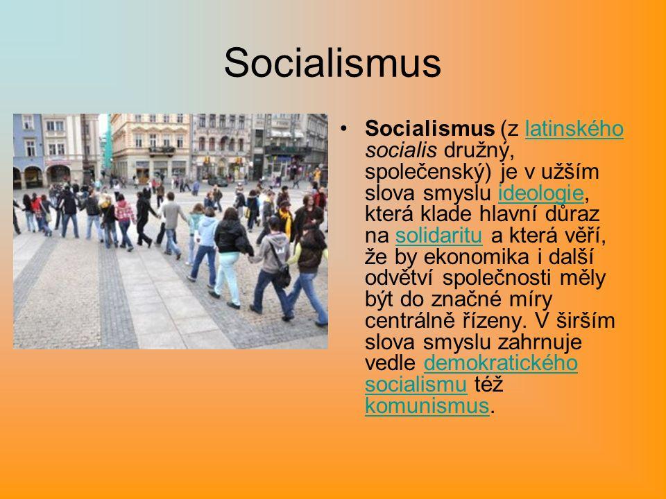 Socialismus Socialismus (z latinského socialis družný, společenský) je v užším slova smyslu ideologie, která klade hlavní důraz na solidaritu a která věří, že by ekonomika i další odvětví společnosti měly být do značné míry centrálně řízeny.
